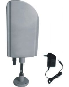 Indoor & Outdoor TV Antenna with Booster (CUL Approval Adaptor),  Silver Color